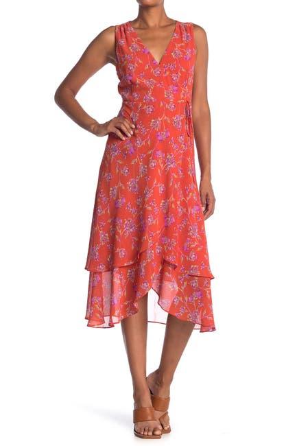 Image of Lush Floral Print Wrap Midi Dress