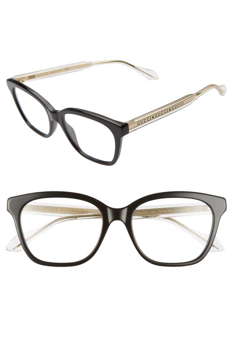 GUCCI 52mm Square Optical Glasses, Main, color, BLACK