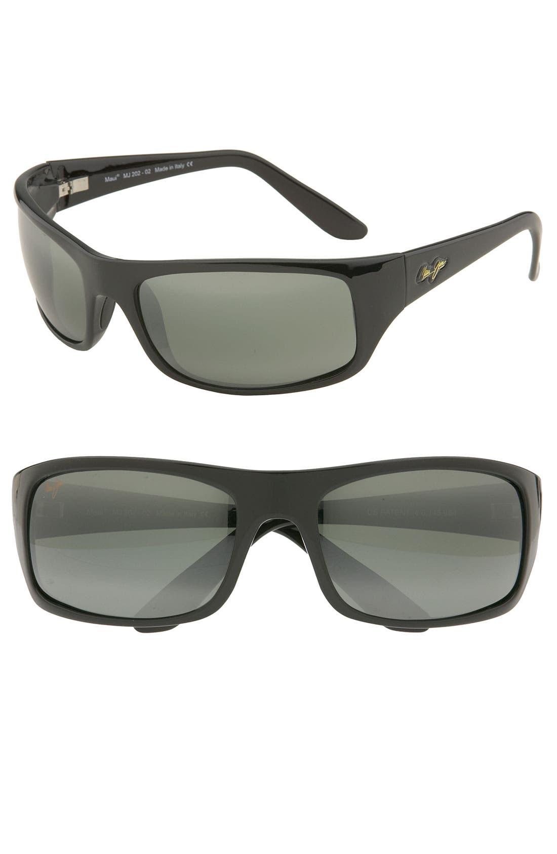,                             'Peahi - PolarizedPlus<sup>®</sup>2' 67mm Sunglasses,                             Main thumbnail 1, color,                             GLOSS BLACK / NEUTRAL GREY