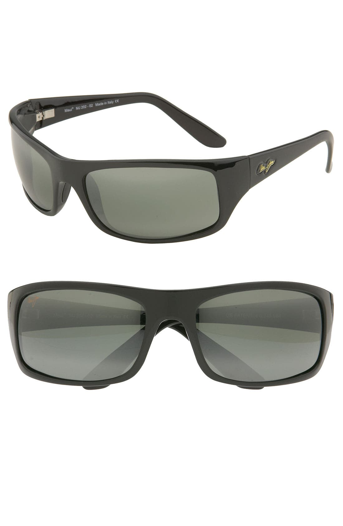 'Peahi - PolarizedPlus<sup>®</sup>2' 67mm Sunglasses, Main, color, GLOSS BLACK / NEUTRAL GREY