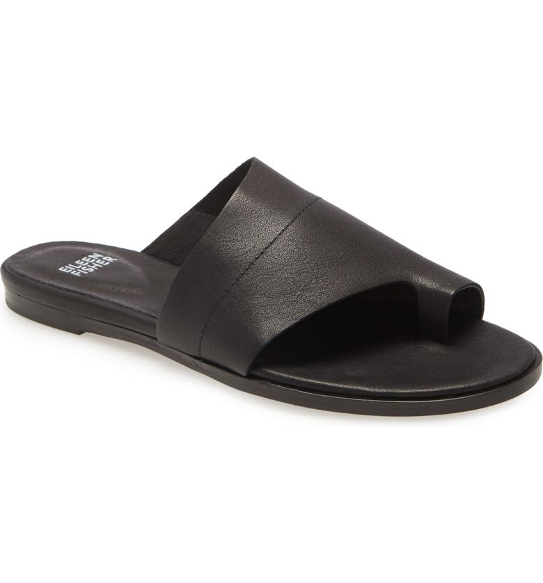 EILEEN FISHER Ty Flat Sandal, Main, color, BLACK