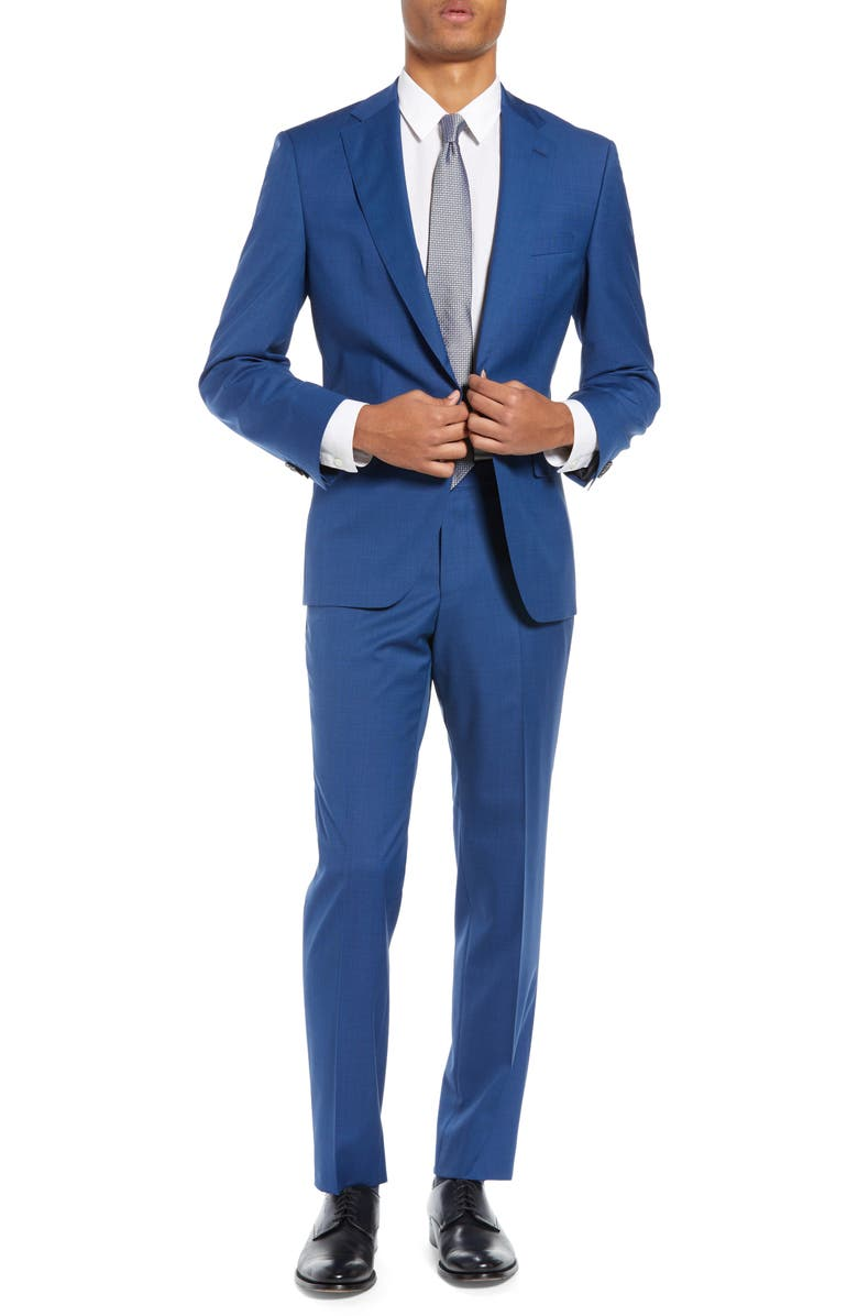 BOSS Johnstons/Lenon Classic Fit Solid Wool Suit, Main, color, NAVY