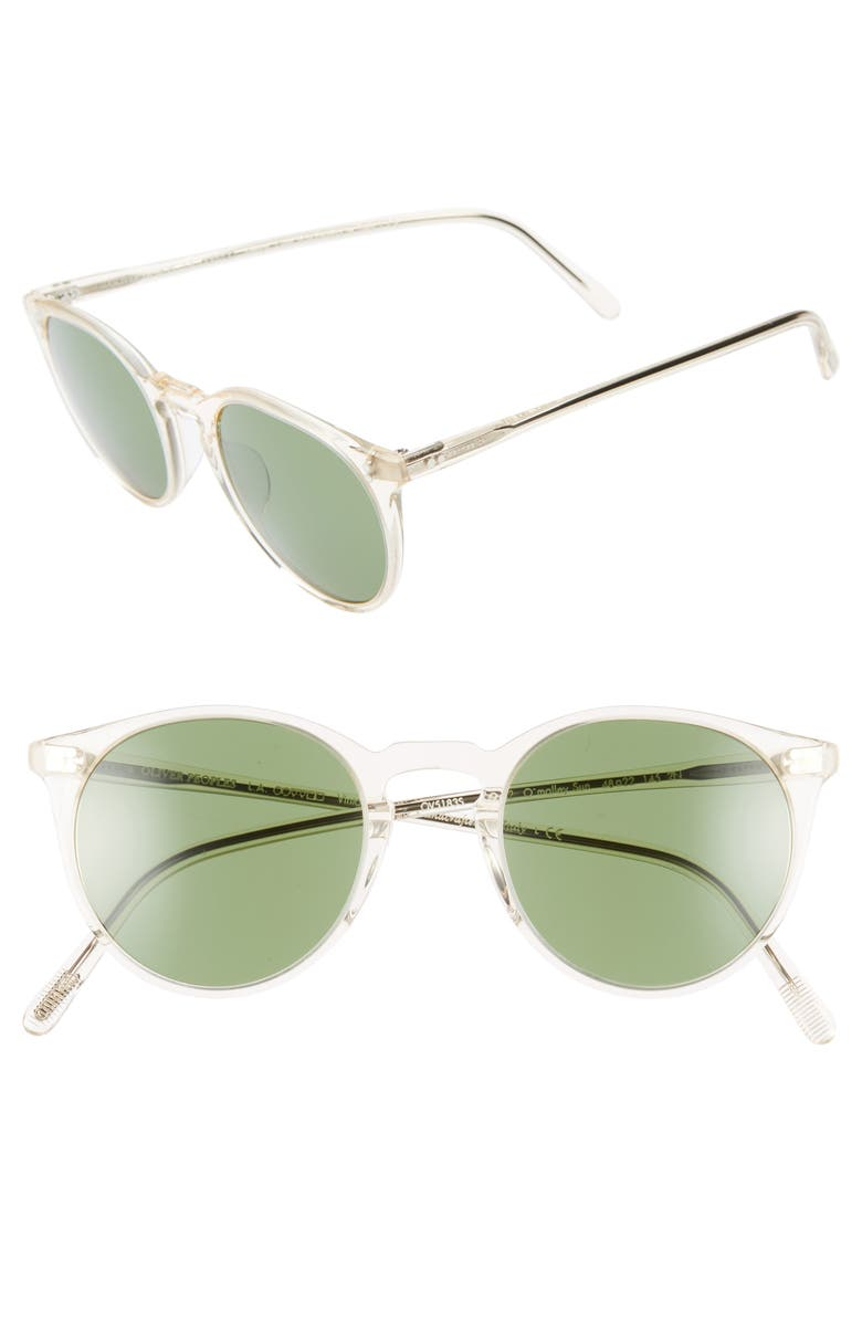 OLIVER PEOPLES O'Malley 48mm Round Sunglasses, Main, color, BUFF/ GREEN