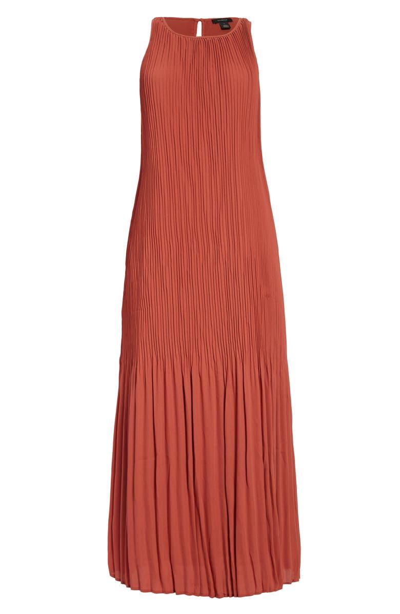 HALOGEN<SUP>®</SUP> Sleeveless Pleated Dress, Main, color, RUST MARSALA
