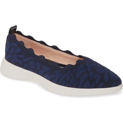 Taryn Rose Dasha Scallop Sock Flat- Blue
