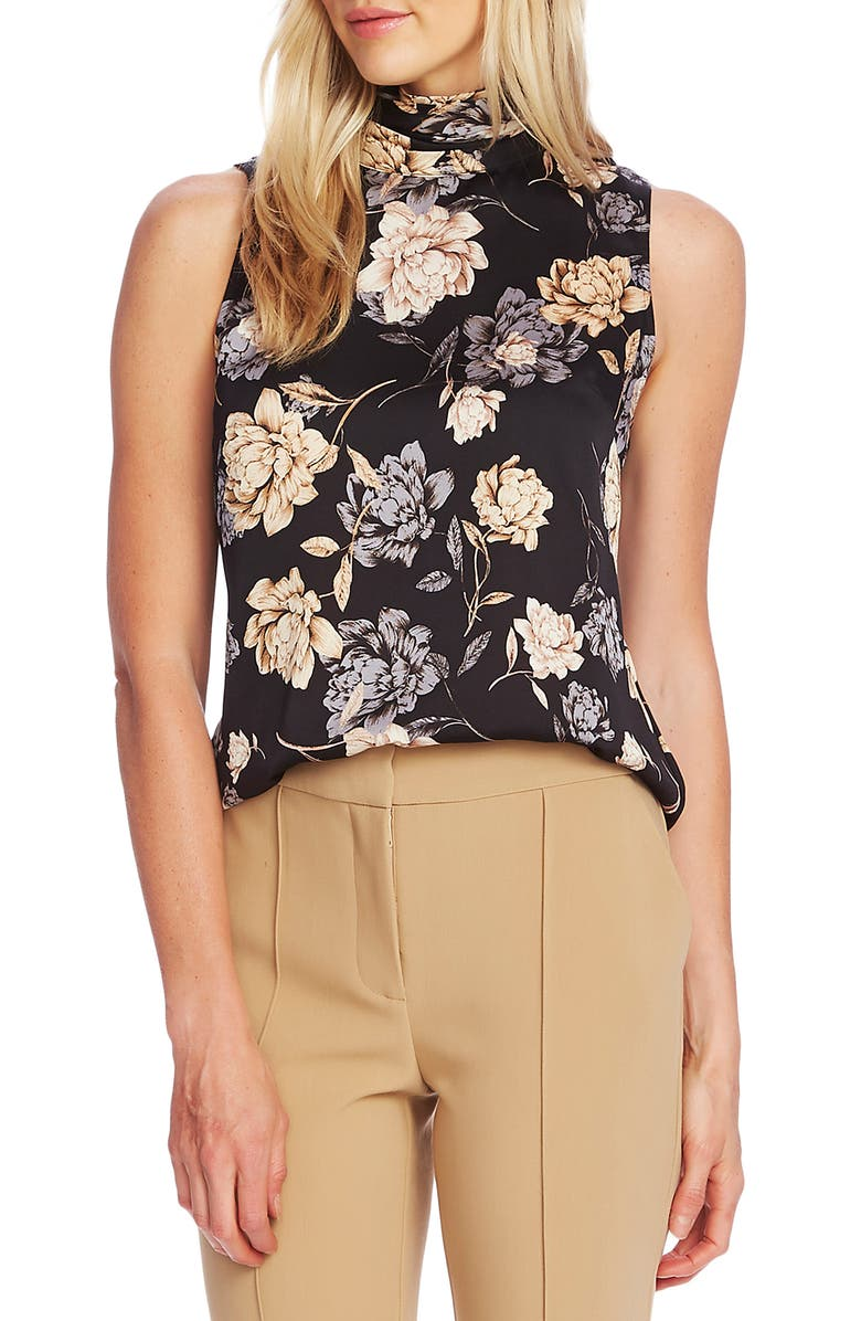 VINCE CAMUTO Enchanted Floral Sleeveless Hammered Satin Blouse, Main, color, RICH BLACK