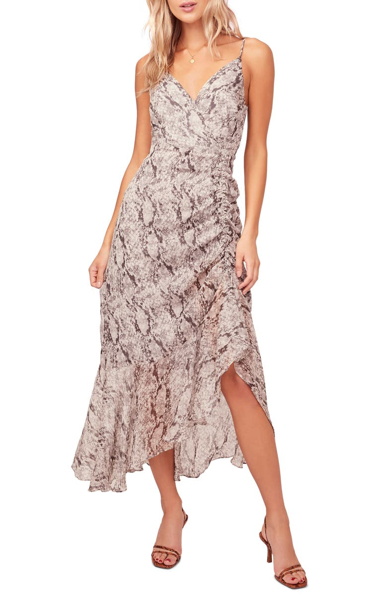ASTR THE LABEL Mariah Ruched Floral Print Midi Dress, Main, color, GREY PYTHON