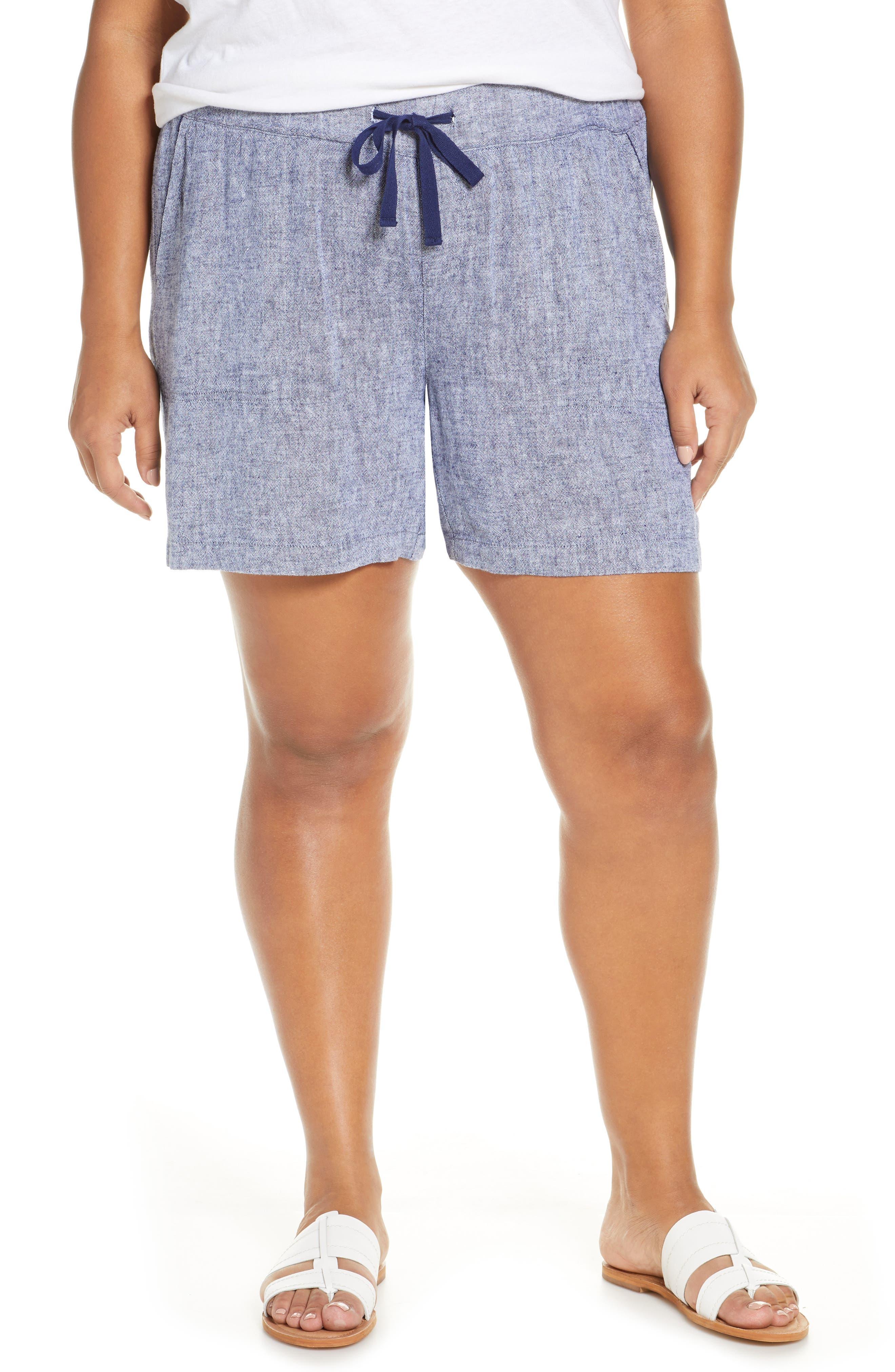 Plus Size Women's Caslon Stripe Linen Shorts