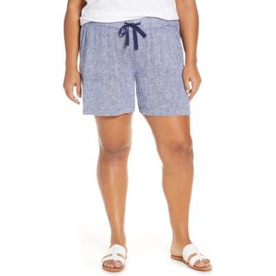 Plus Size Caslon Stripe Linen Shorts