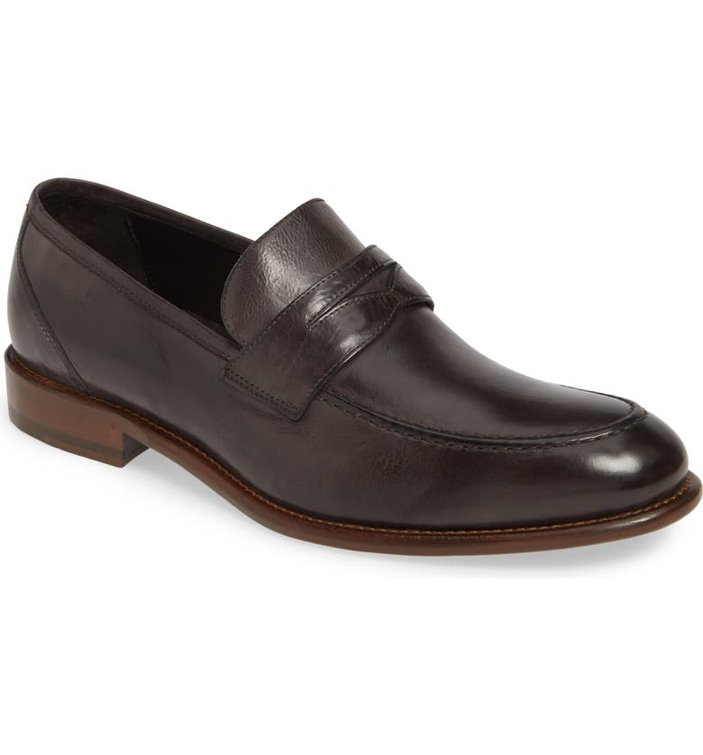 J&M 1850 Bryson Penny Loafer, Main, color, CHARCOAL LEATHER