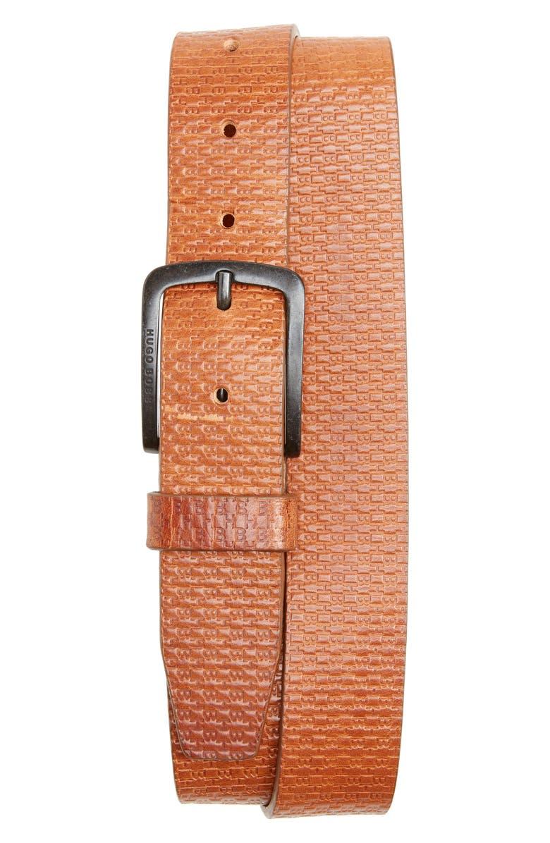 BOSS Jor-HB Leather Belt, Main, color, MEDIUM BROWN