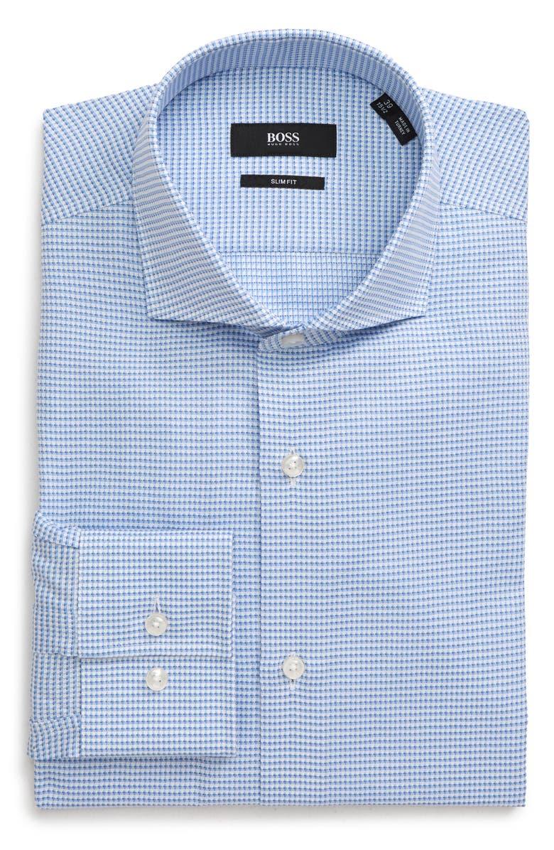 BOSS Jason Slim Fit Houndstooth Dress Shirt, Main, color, BLUE