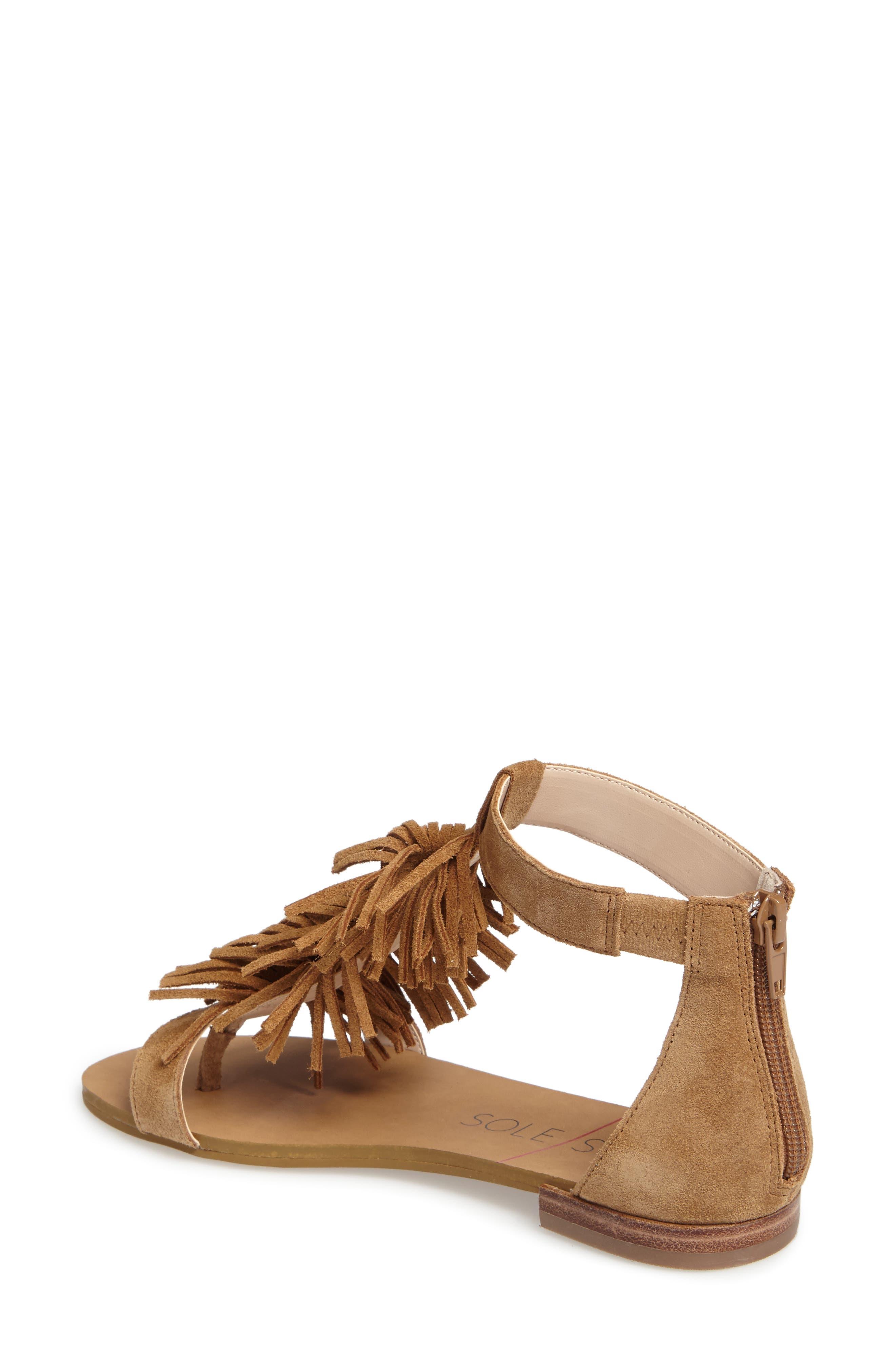 ,                             Koa Fringed T-Strap Sandal,                             Alternate thumbnail 8, color,                             240