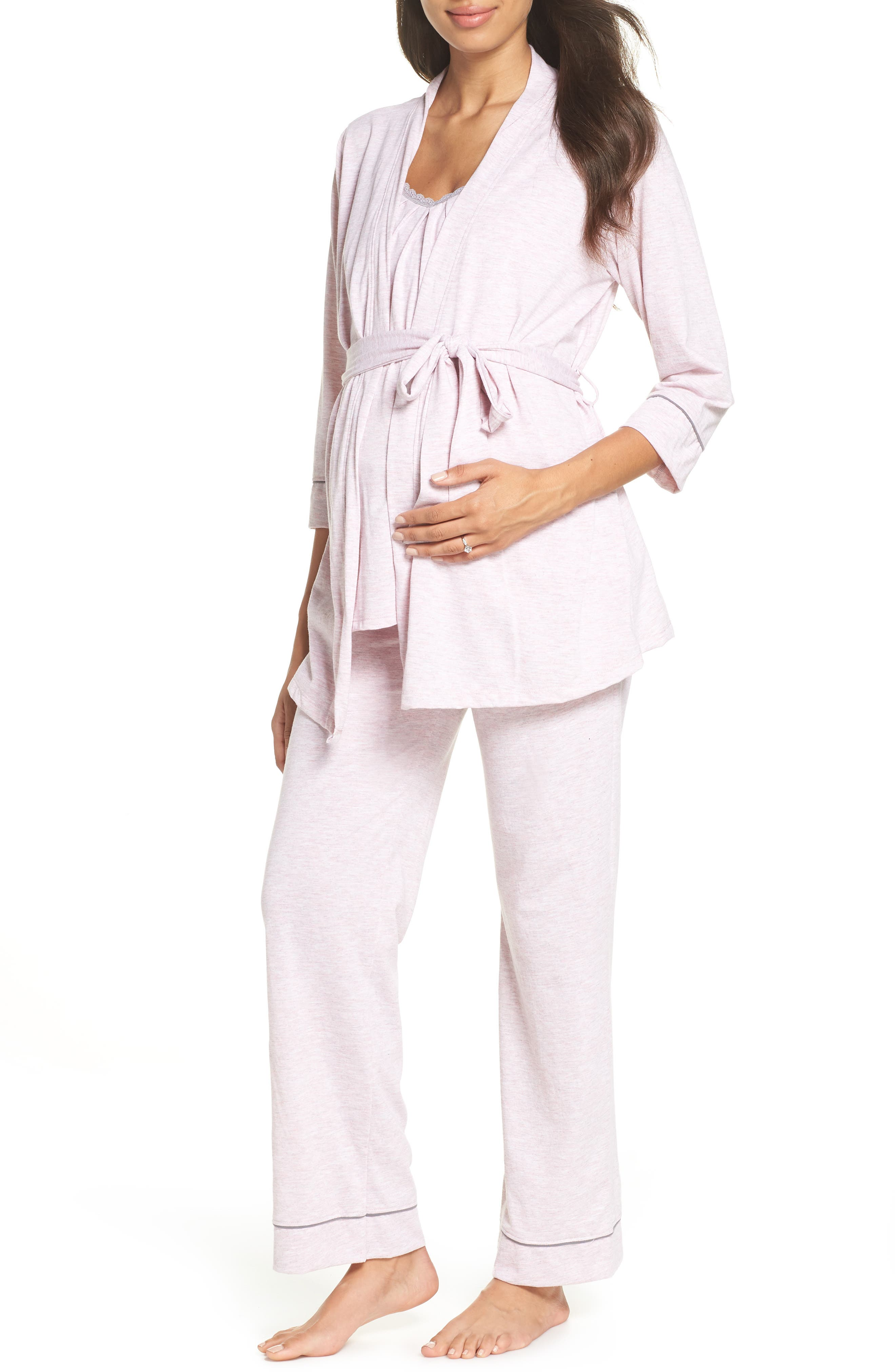 Maternity/Nursing Robe & Pajamas, Main, color, PINK MARLE