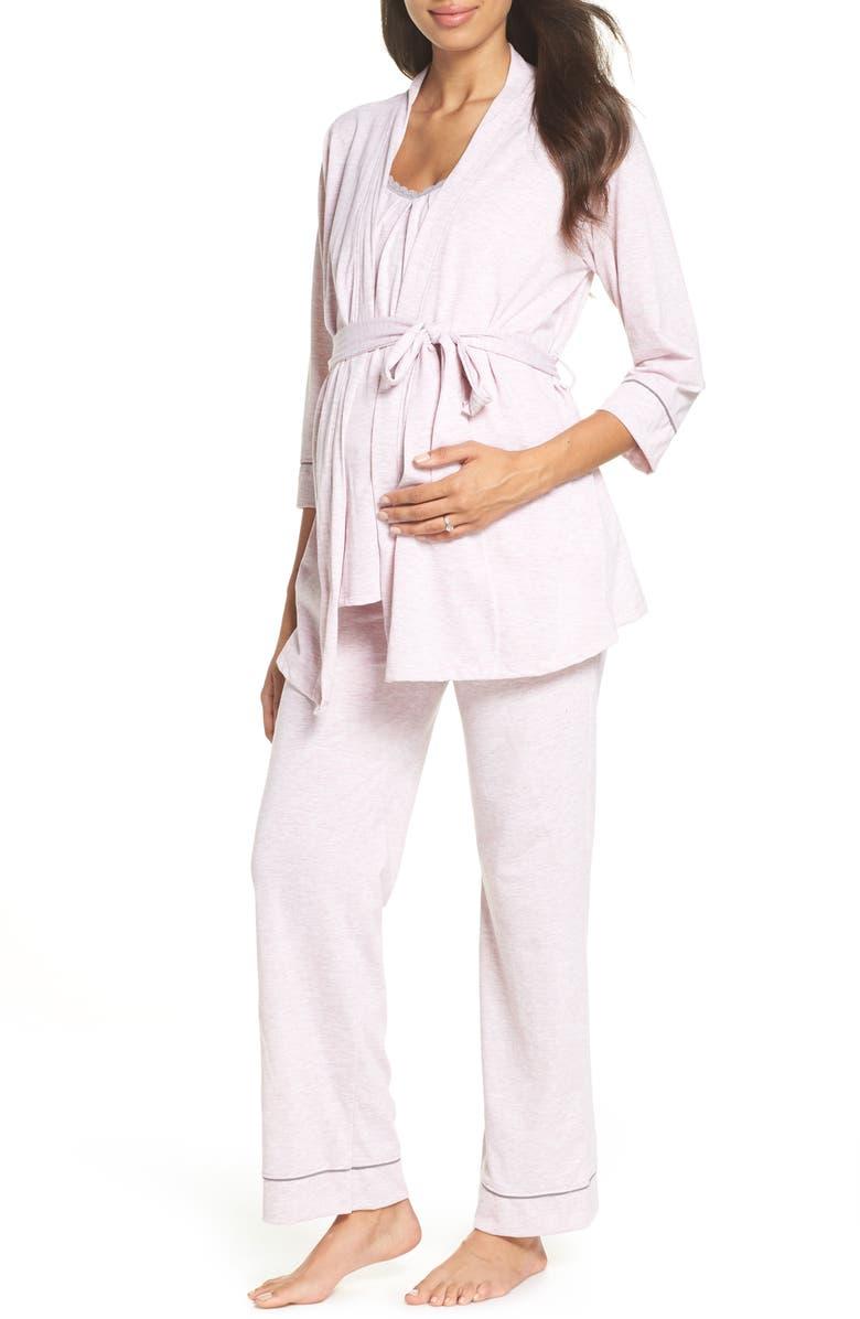 BELABUMBUM Maternity/Nursing Robe & Pajamas, Main, color, PINK MARLE