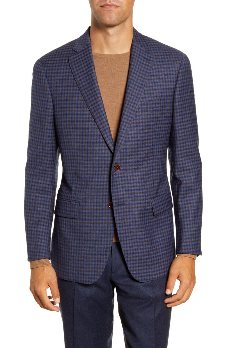 HART SCHAFFNER MARX Classic Fit Check Stretch Wool Sport Coat, Main, color, MEDIUM BLUE
