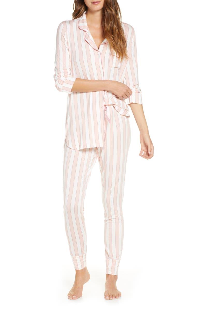 RACHEL PARCELL Long Sleeve Print Pajamas, Main, color, PINK SMOKE EVEN STRIPE