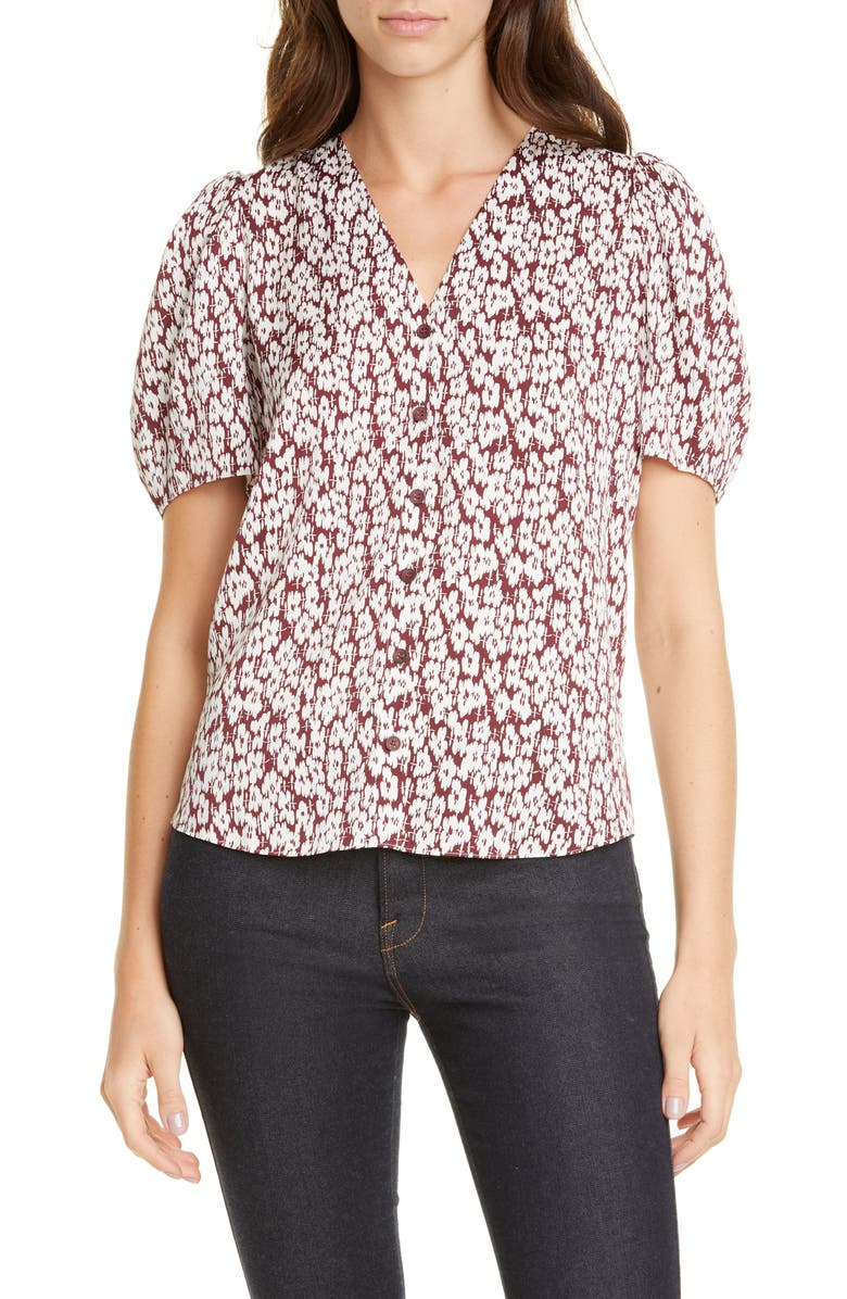 NORDSTROM SIGNATURE Floral Puff Sleeve Stretch Silk Top, Main, color, BURGUNDY VINCENT FLORAL