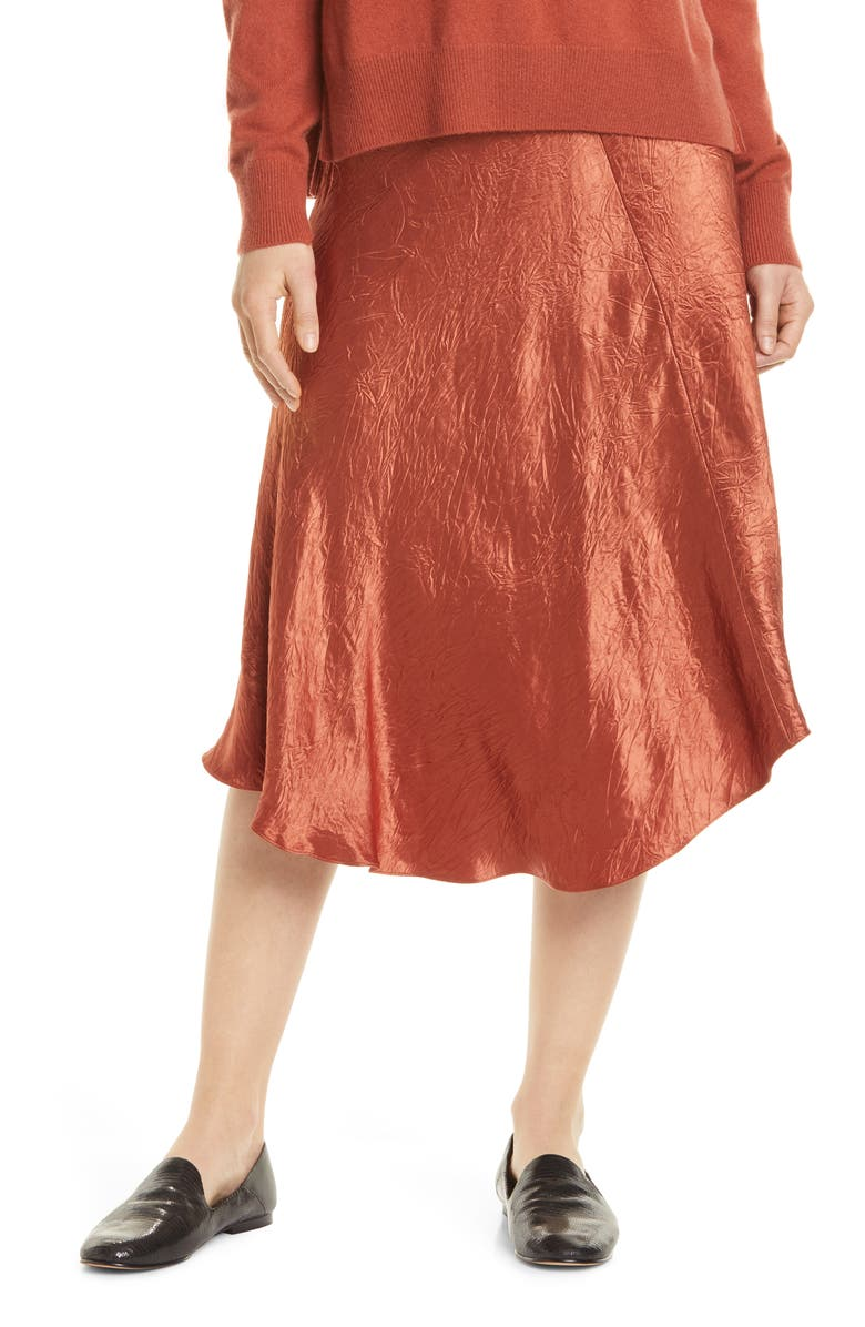 VINCE Bias Cut Crinkled Satin Midi Skirt, Main, color, SPICE
