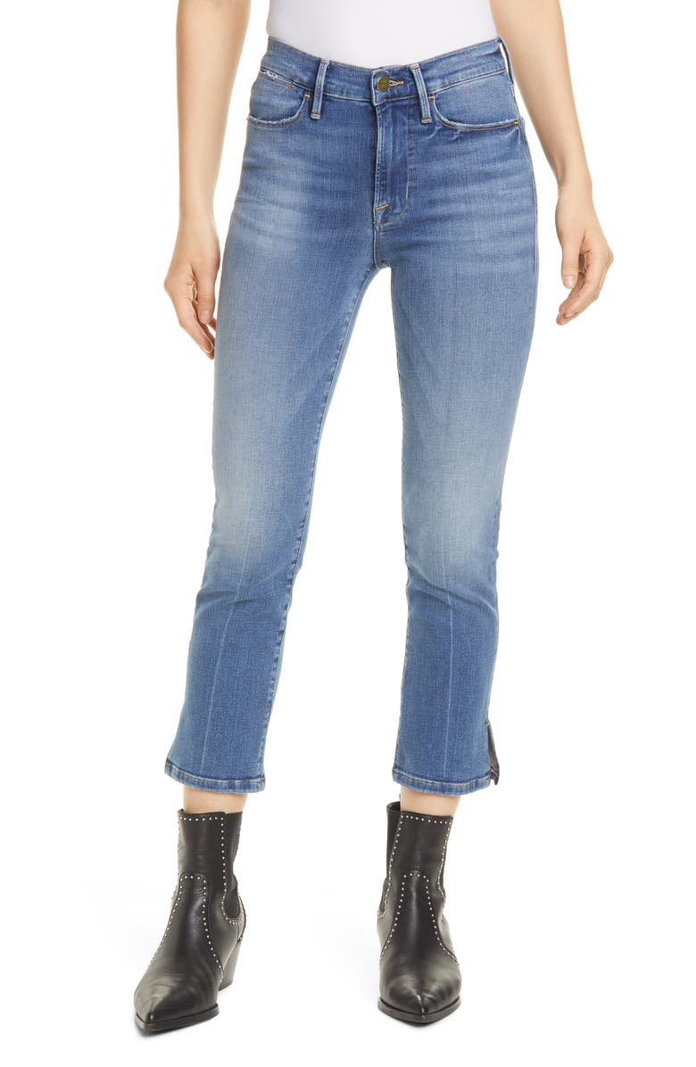 FRAME Le High Straight Slit Hem Ankle Jeans, Main, color, CAROLINE