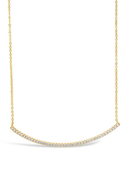 Image of Sterling Forever 14K Gold Plated Brass CZ Curved Bar Necklace