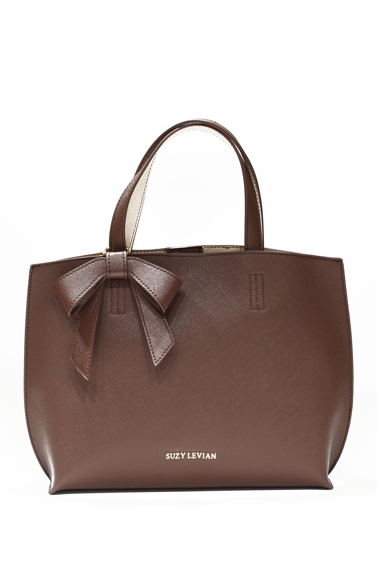 Image of Suzy Levian Saffiano Faux Leather Mini Bow Tote