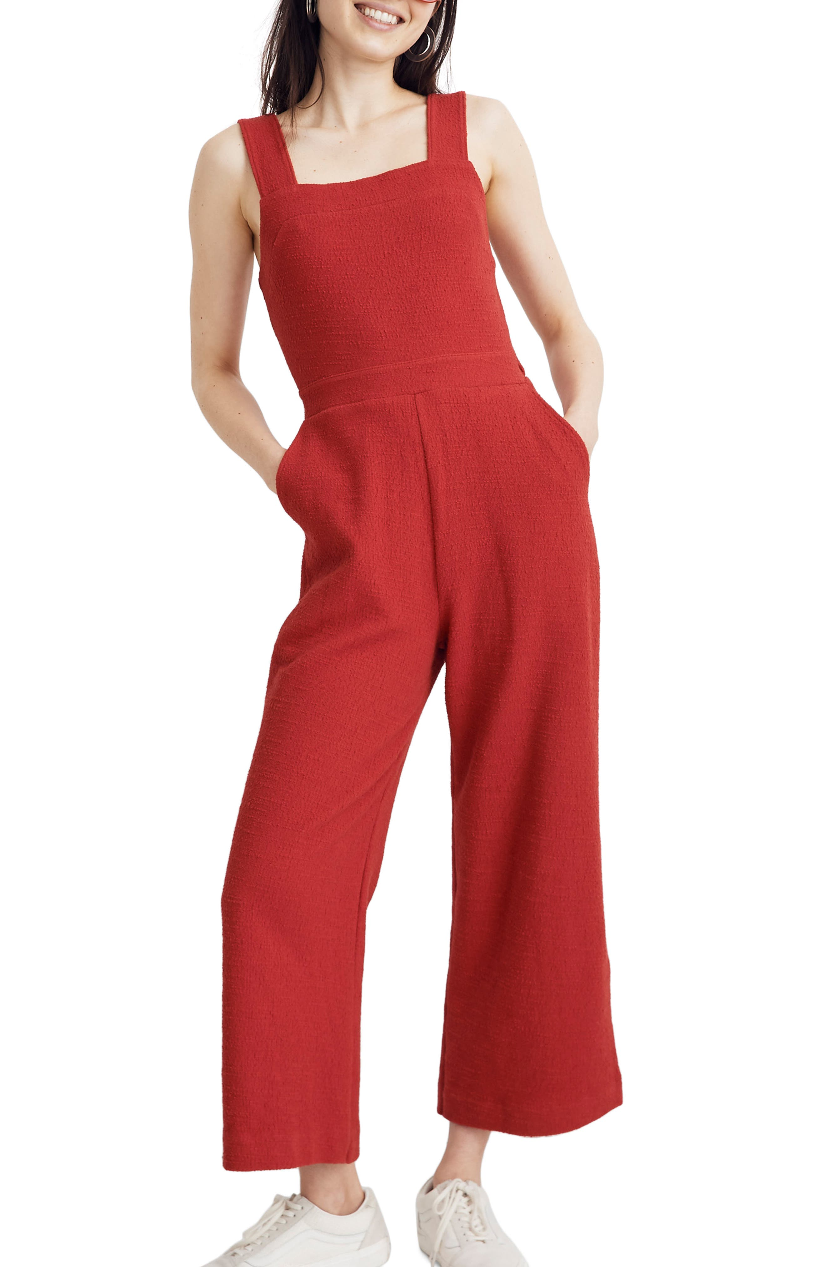 ,                             Texture & Thread Apron Bow Back Jumpsuit,                             Main thumbnail 1, color,                             BRIGHT EMBER