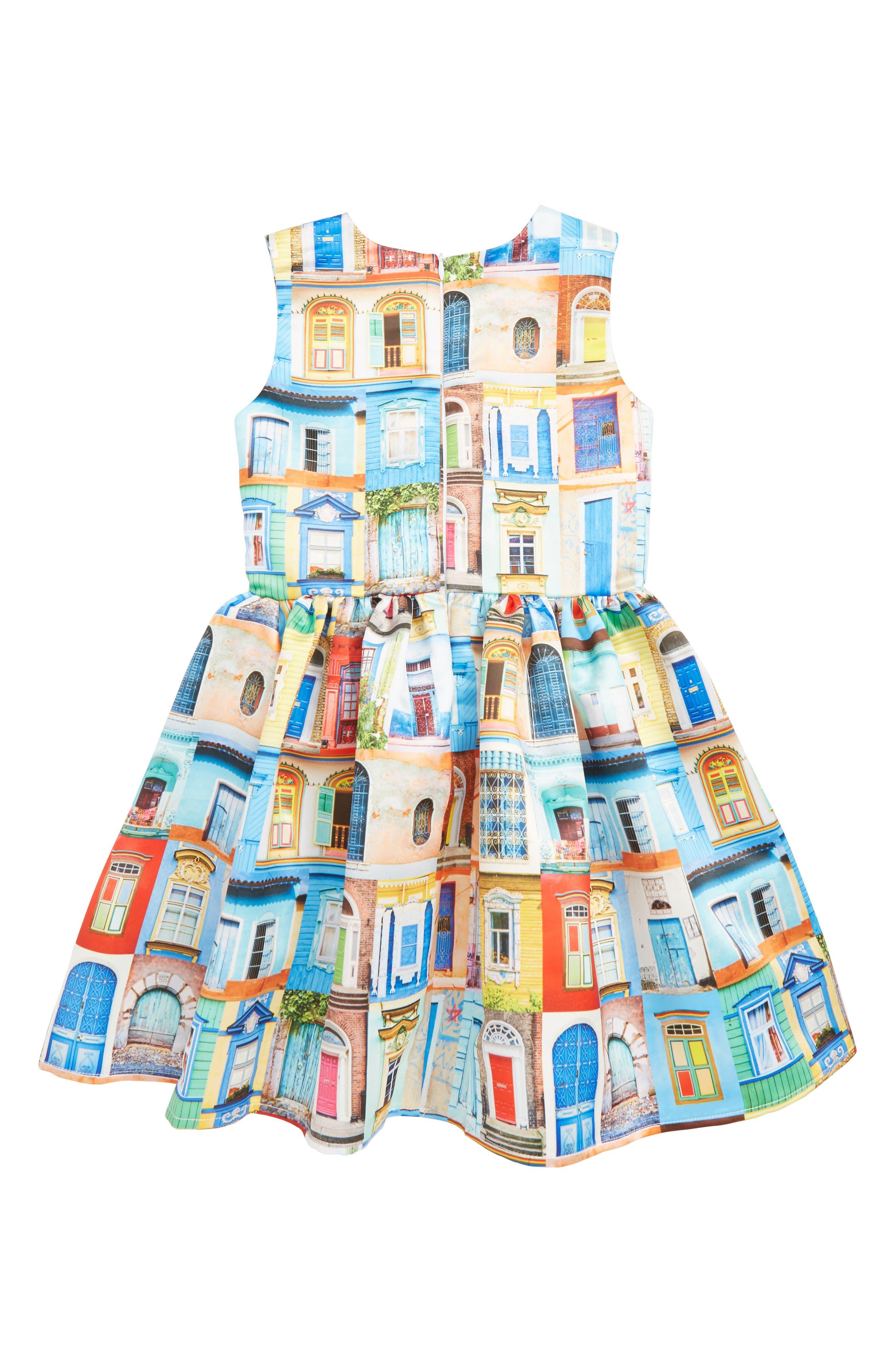 ,                             Doors & Windows Print Dress,                             Alternate thumbnail 2, color,                             MULTI