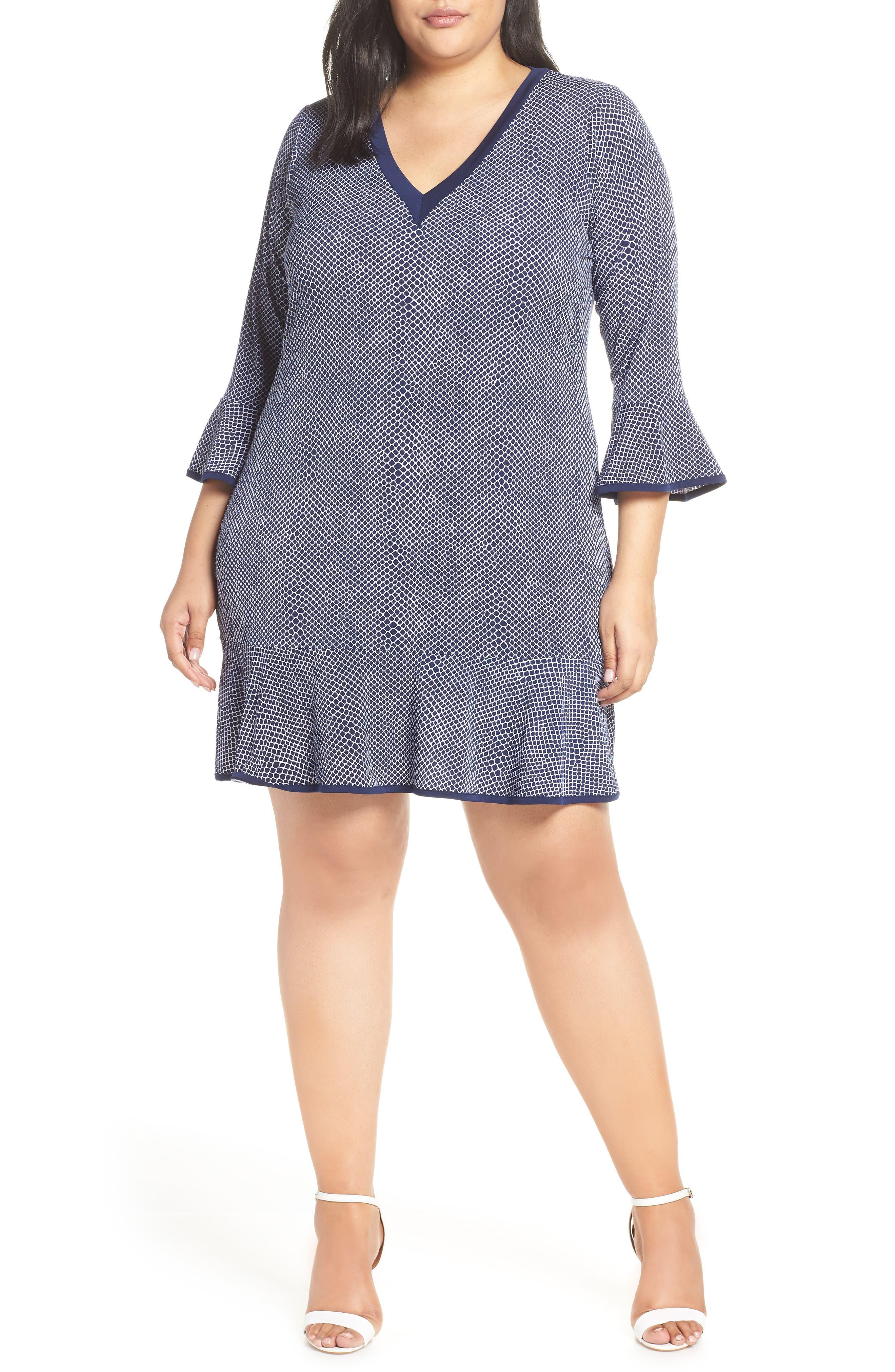 Plus Size Michael Michael Kors Mamba Print Flare Sleeve Dress, Blue