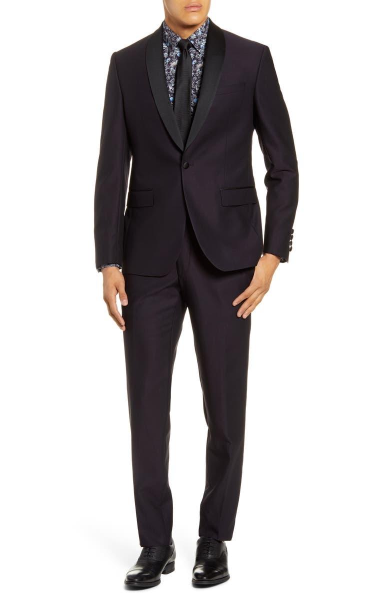 TED BAKER LONDON Josh Trim Fit Wool Tuxedo, Main, color, DEEP EGGPLANT