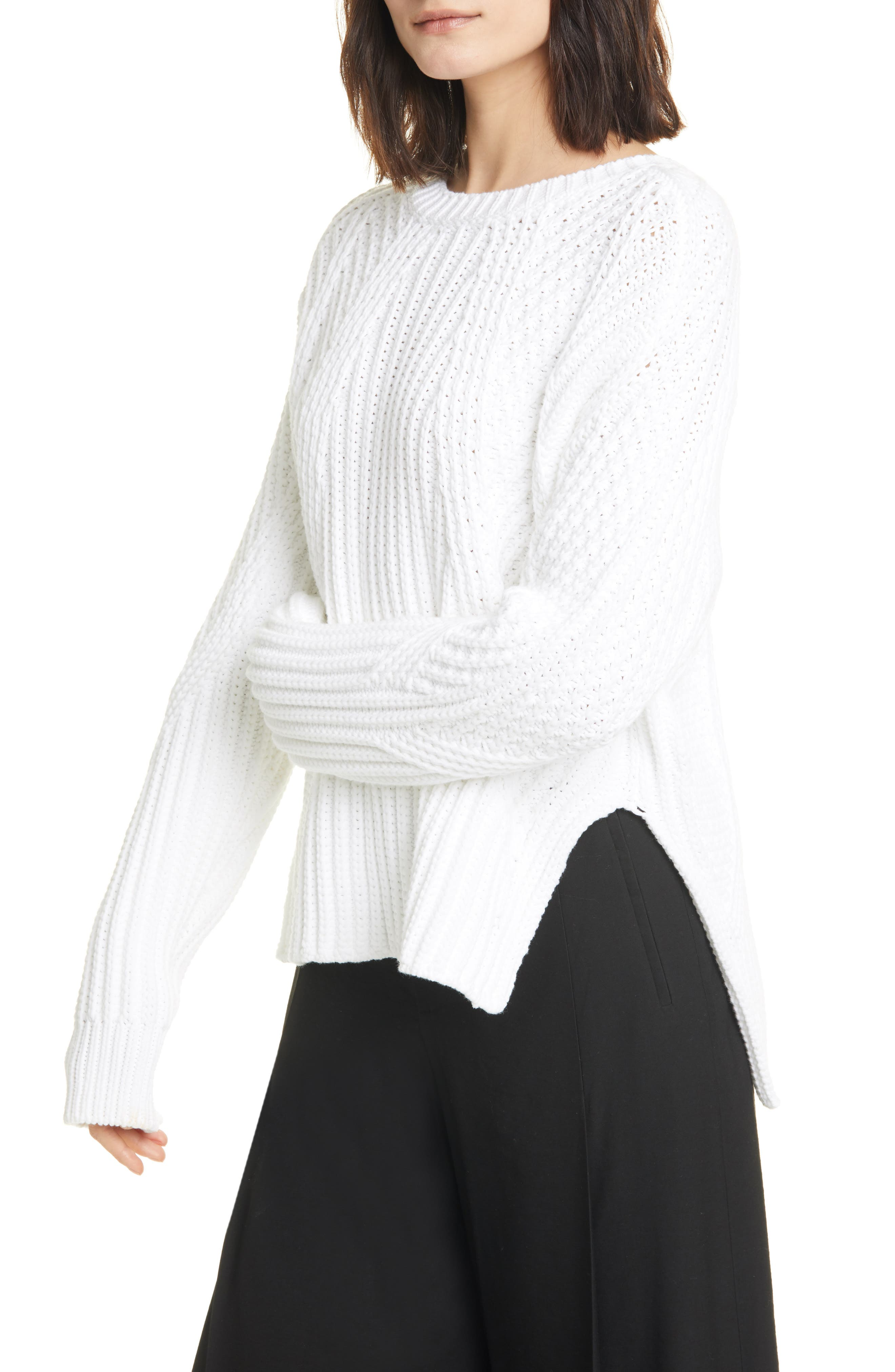 Vince Womens Mixed Rib Crew Sweater