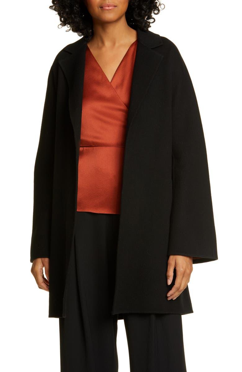 VINCE Belted Wool & Cashmere Coat, Main, color, BLACK