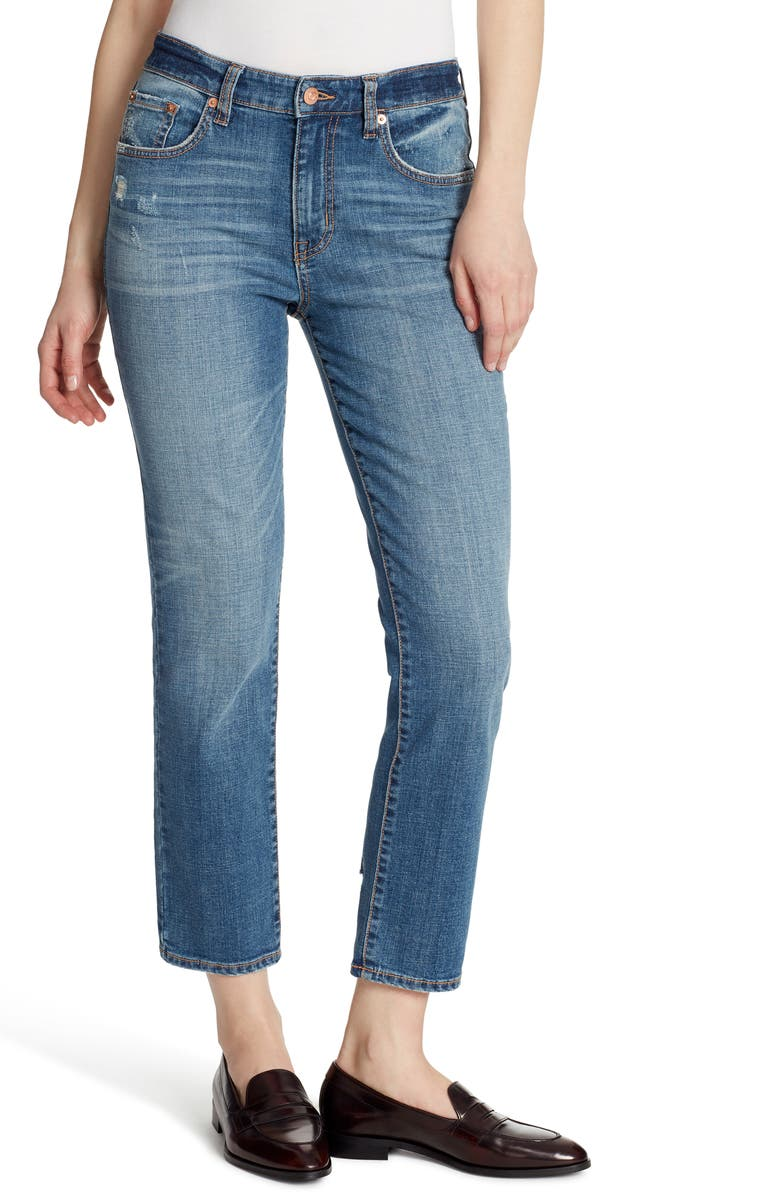 ELLA MOSS High Waist Crop Slim Straight Jeans, Main, color, MCKINNEY