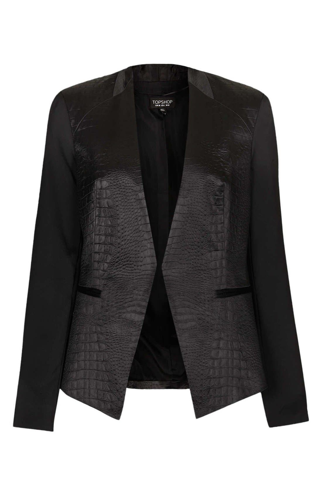 ,                             Embossed Faux Leather Blazer,                             Alternate thumbnail 4, color,                             001