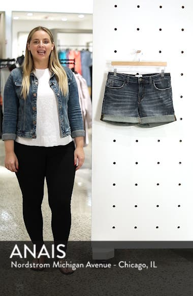 Rolled Denim Boyfriend Shorts, sales video thumbnail