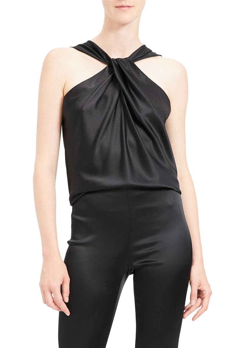 THEORY Twist Stretch Satin Top, Main, color, BLACK