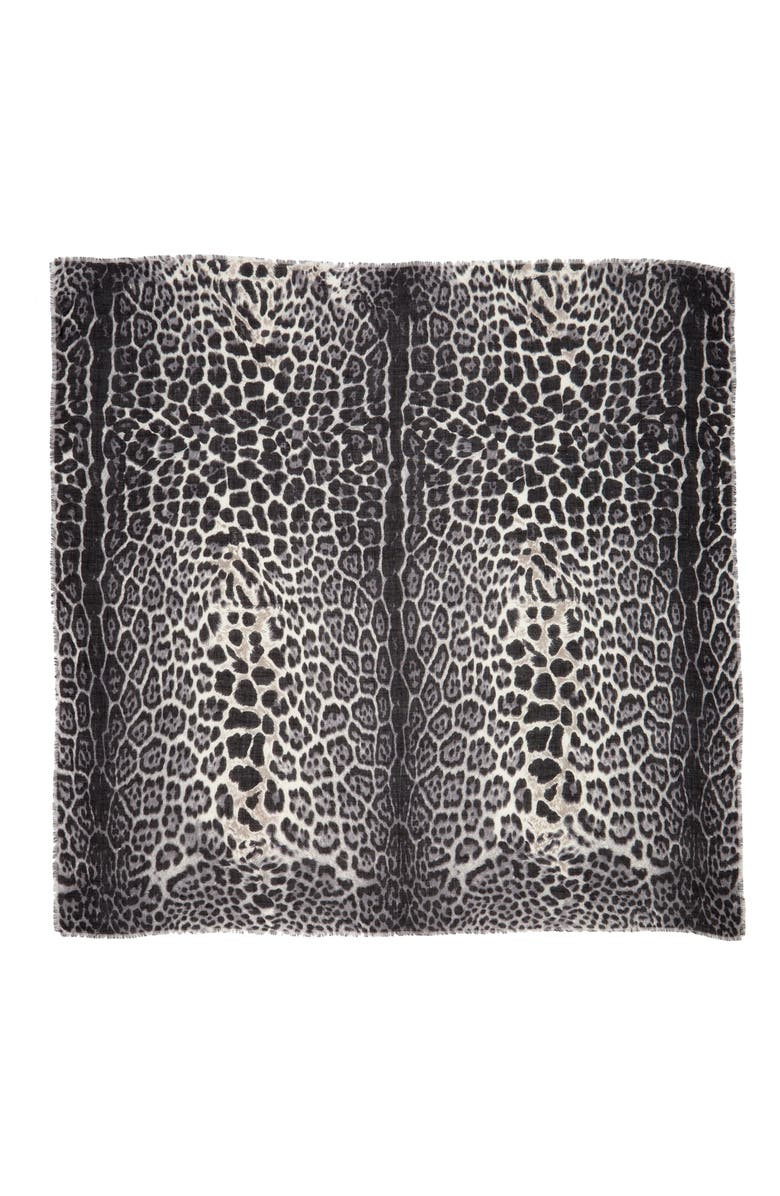 SAINT LAURENT Leopard Square Scarf, Main, color, GRAPHITE/ BLACK