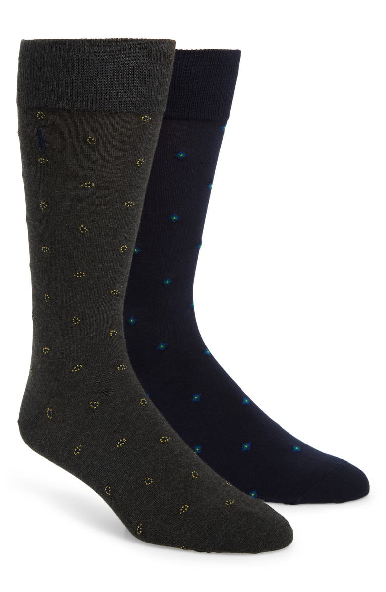 POLO RALPH LAUREN 2-Pack Socks, Main, color, DARK CHARCOAL