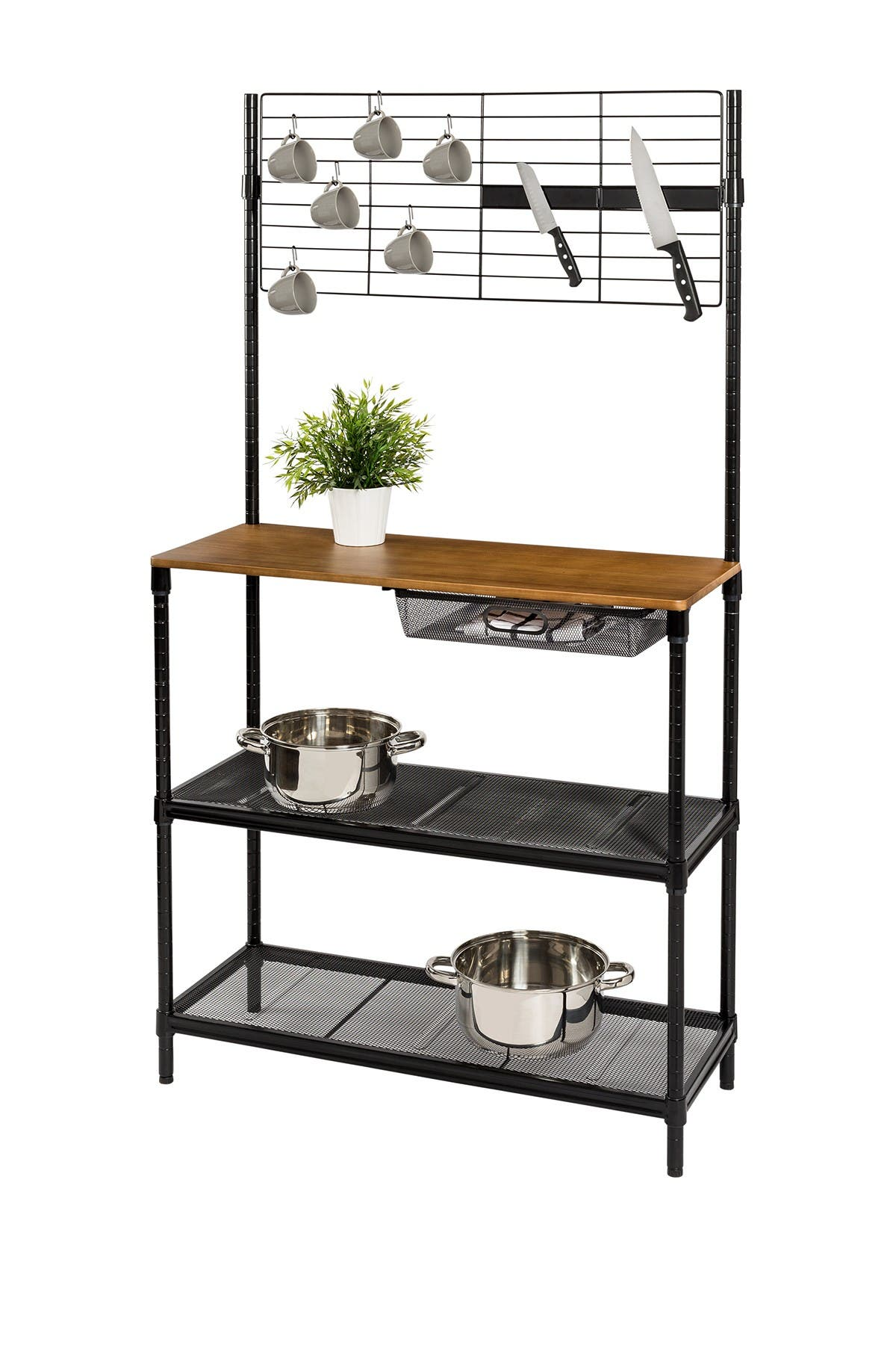 Image of Honey-Can-Do Black/Wood Kitchen Bakers Rack