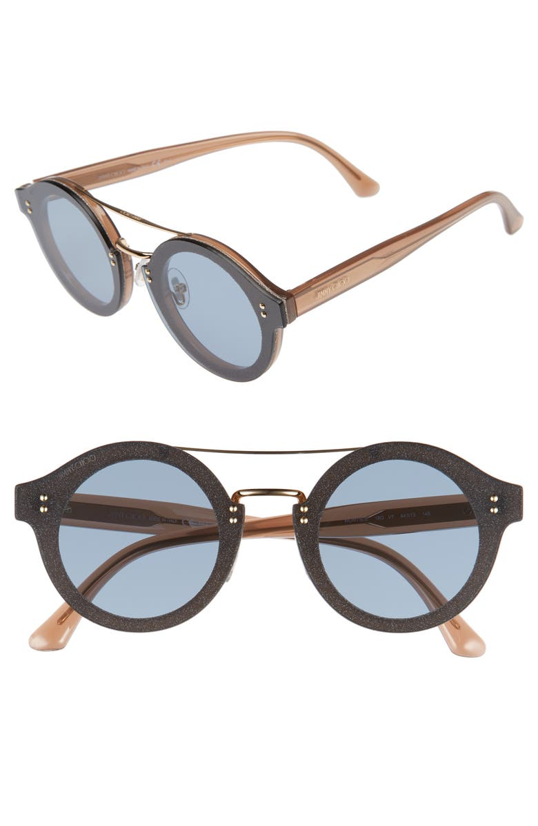 JIMMY CHOO Monties 64mm Round Sunglasses, Main, color, NUDE/ GLITTER/ GOLD