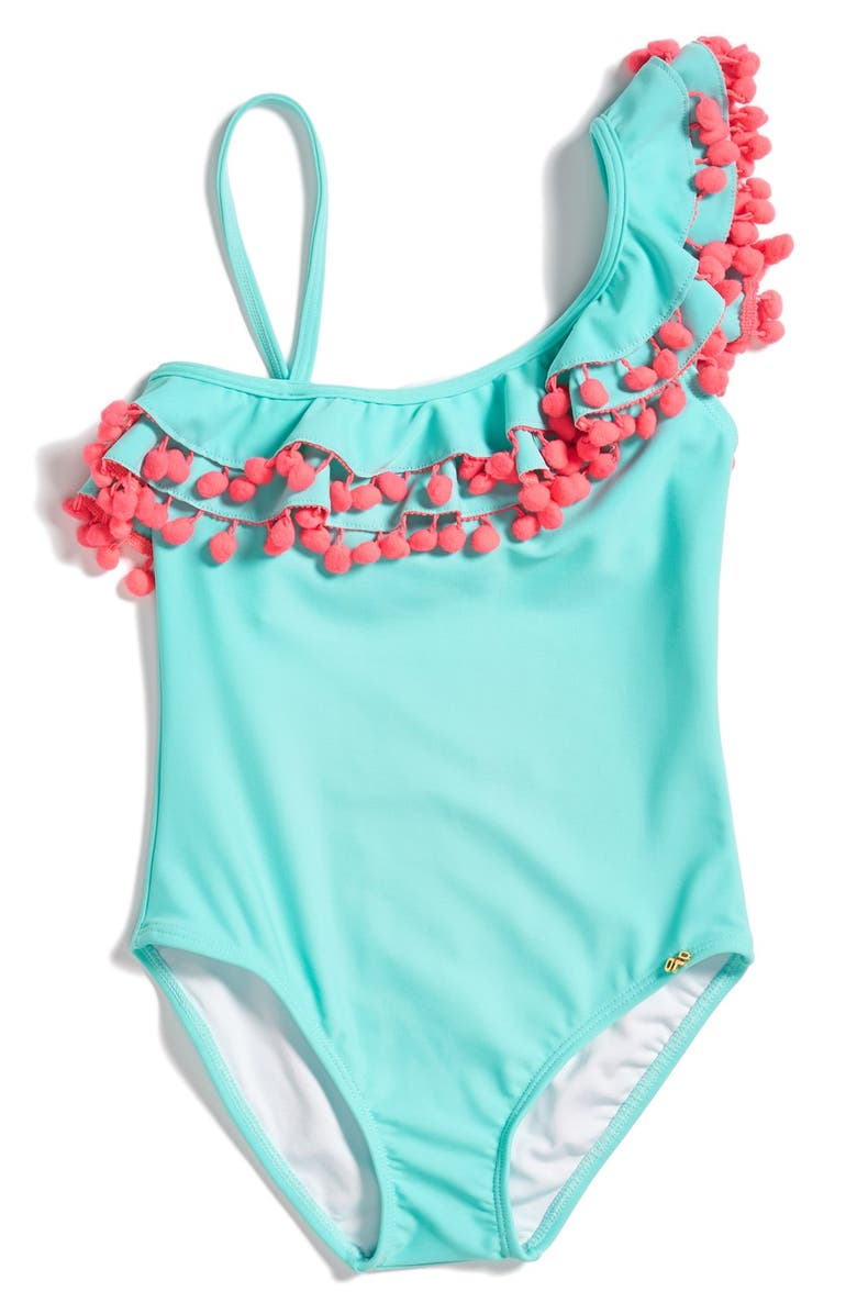 PILYQ Pompom One-Shoulder One-Piece Swimsuit, Main, color, 400