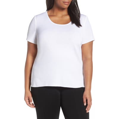 Plus Size Ming Wang Scoop Neck Knit Top, White