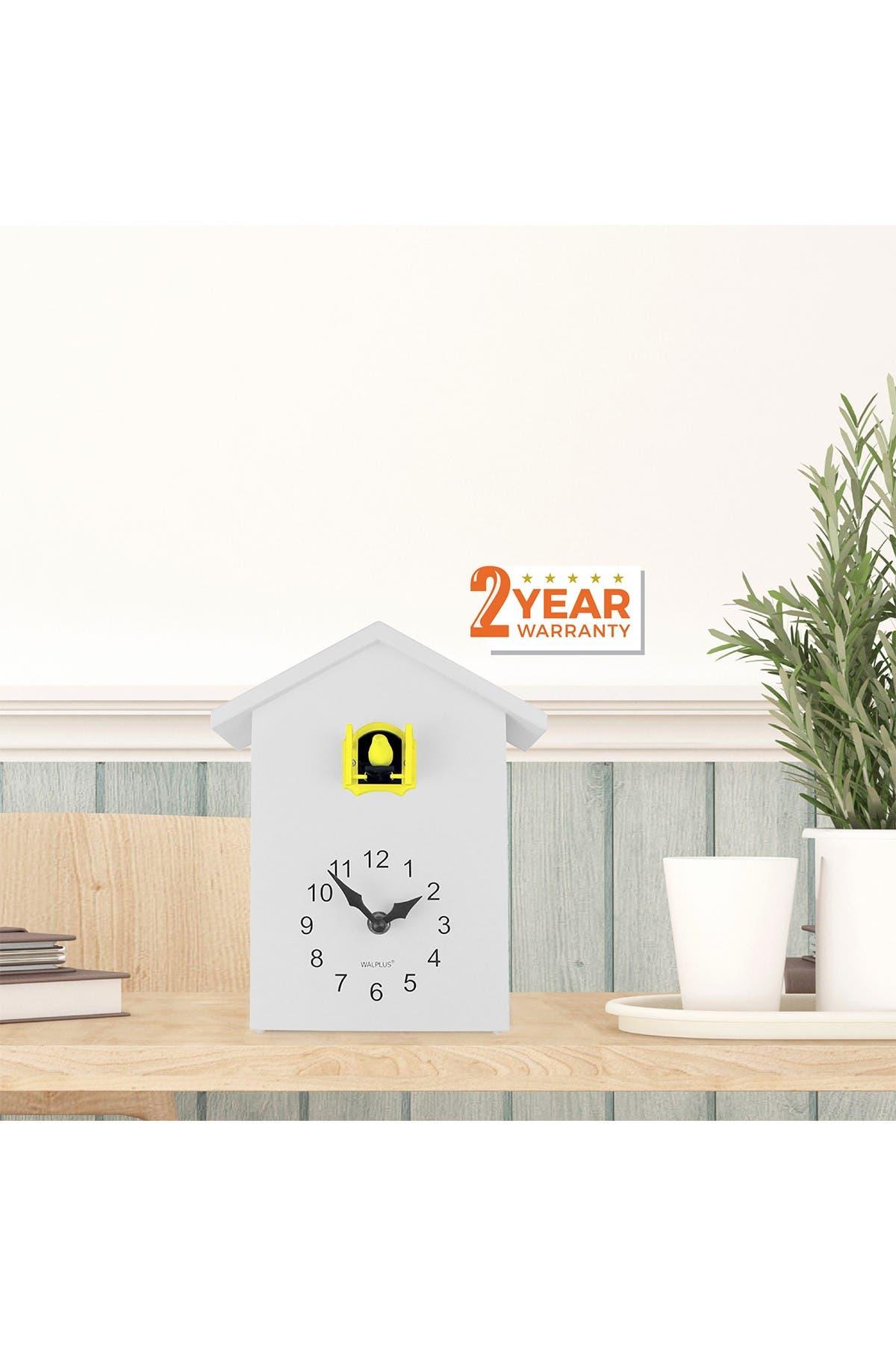 Image of WalPlus White Cuckoo Table Clock - Yellow Window
