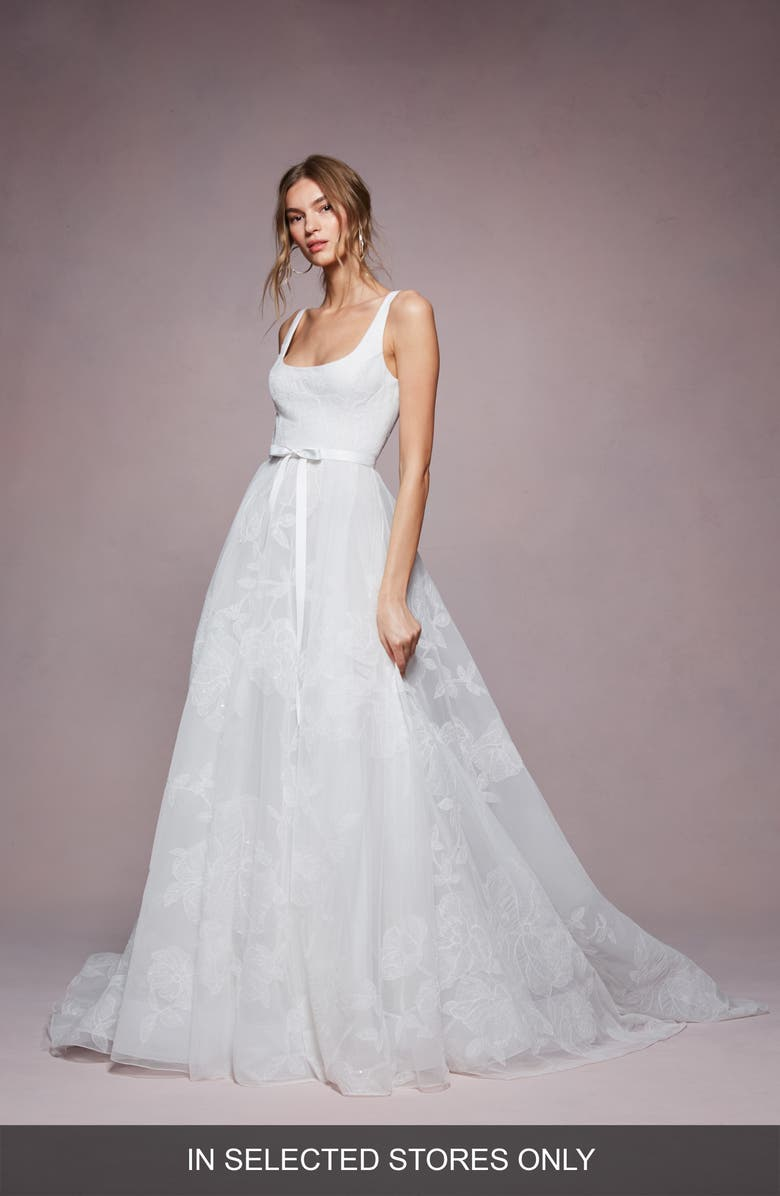 MARCHESA NOTTE Bea Embroidered Ballgown Wedding Dress, Main, color, 900