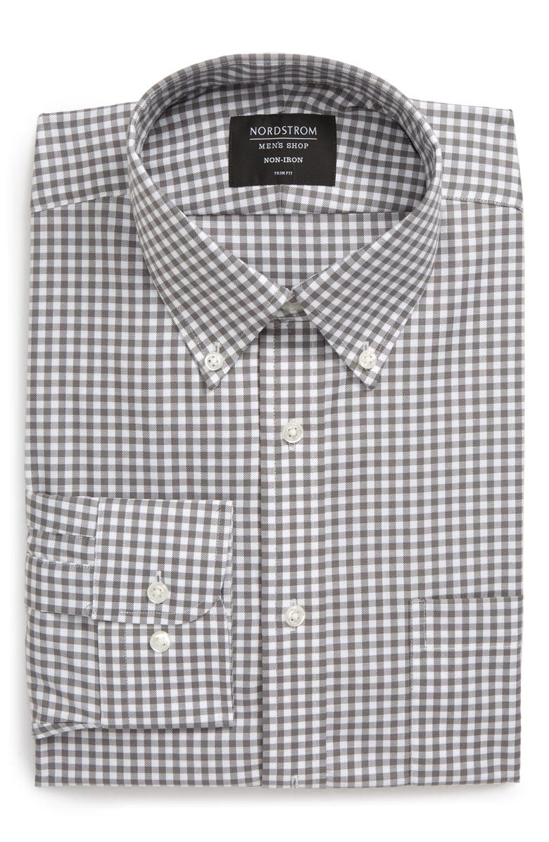 NORDSTROM MEN'S SHOP Trim Fit Non-Iron Gingham Dress Shirt, Main, color, GREY