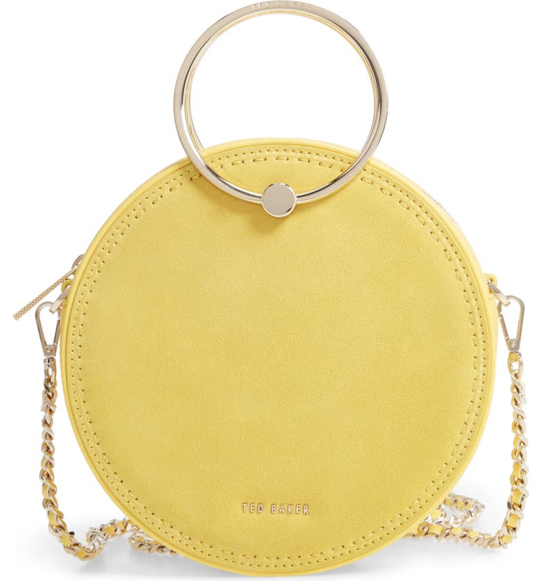 TED BAKER LONDON Melliaa Suede Circle Bag, Main, color, LIGHT YELLOW