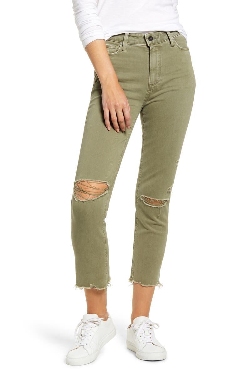 PAIGE Vintage - Hoxton High Waist Ripped Crop Slim Straight Leg Pants, Main, color, VINTAGE GREEN SPRINGS DESTRUCT