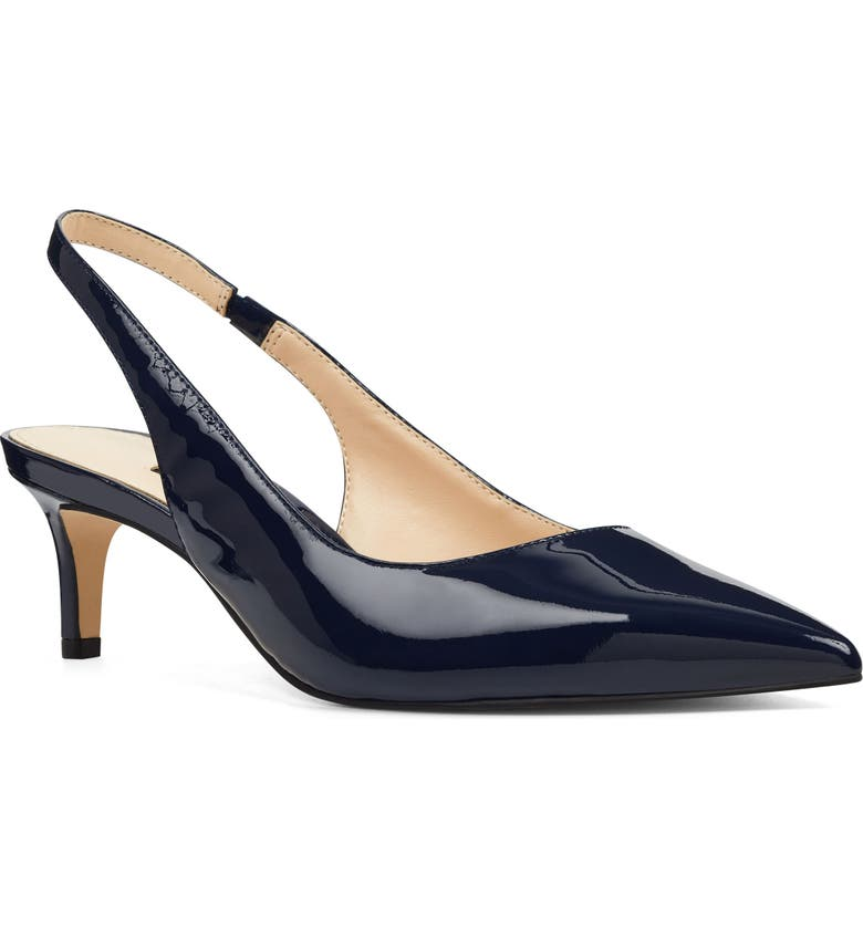 NINE WEST Feliks Sling Back Pump, Main, color, NAVY FAUX PATENT LEATHER