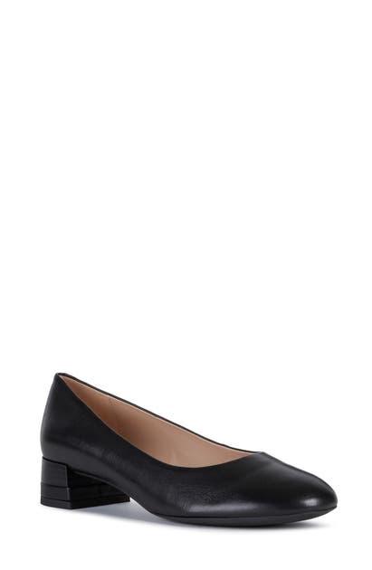 Mus Caracterizar limpiar  Geox Chloo Block Heel Pump In Black Leather | ModeSens