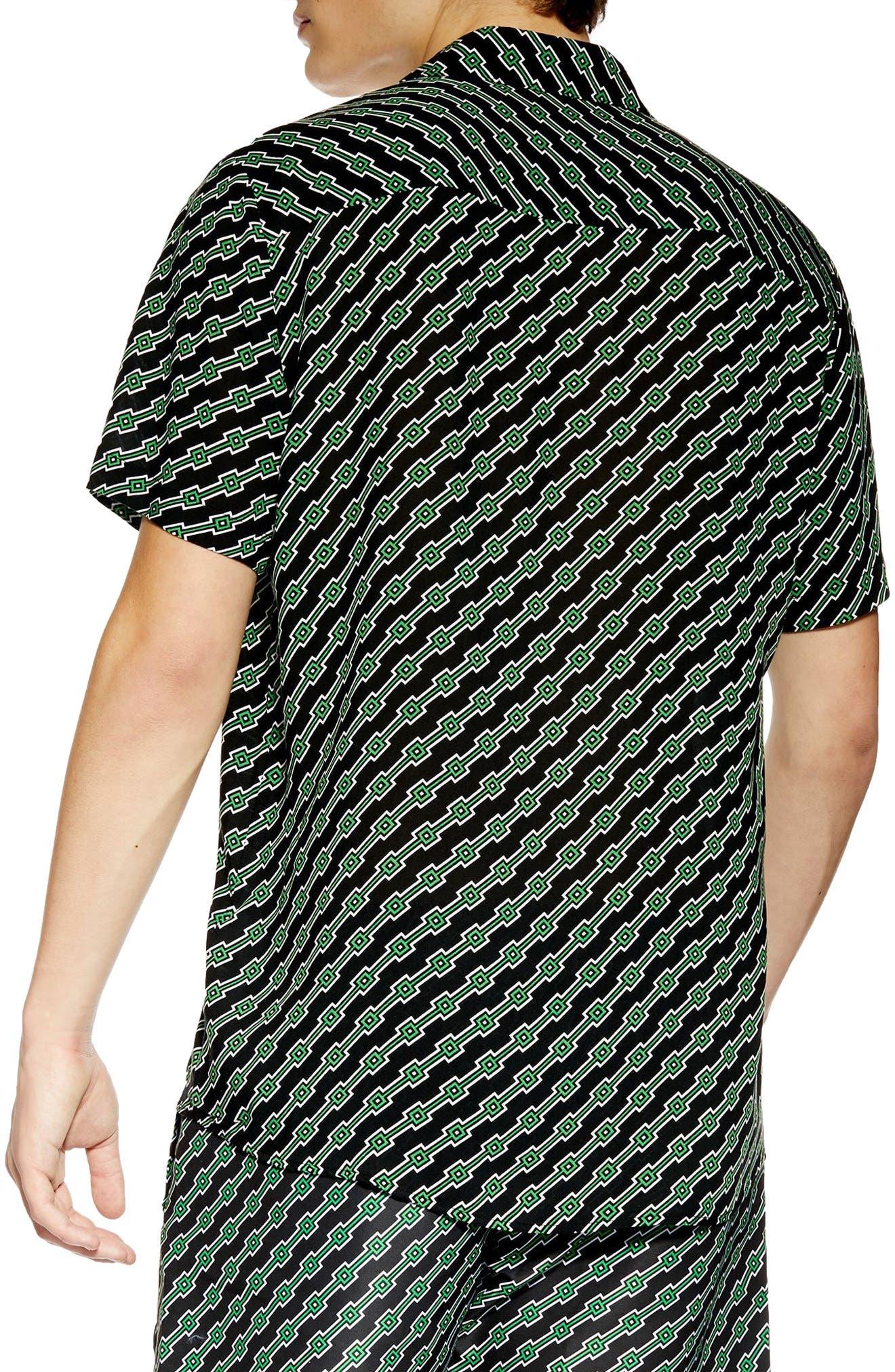 ,                             Slim Fit Geometric Print Shirt,                             Alternate thumbnail 3, color,                             BLACK MULTI